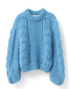Hand-knitted blouse with a scallop pattern woven in Italy. Features an oversize fit and a soft and comfortable quality. Smart Casual Winter Outfits, Winter Outfits Women, Winter Sweaters, Cotton Sweater, Cardigans For Women, Fashion Pants, Chic Outfits, Knitwear, Pullover