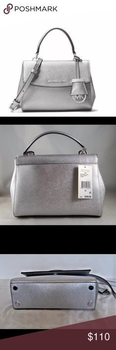 "Michael Kors Ava NWT sml  Metallic crossbody purse *Top handle with 3"" drop  *Silver- tone hardware  *Flap magnetic snap closure  *MK logo lettering at front  *MK logo circle hanging charm   *Flat bottom with protective feet  *Rear slide in pocket with magnetic closure   *Interior features;  back wall zip pocket and 1 slip pocket   *Removable adjustable strap with 22- 24"" drop  *7""(H) x 10""(L) x 4""(D)  *Dust bag included  *Retail $268 Michael Kors Bags Crossbody Bags"