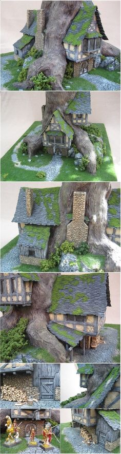 Fairy Houses I like the way this house incorporates a small tree . very cool design and very unique - fair garden and miniatures Fairy Village, Fairy Tree, Fairy Garden Houses, Gnome Garden, Fairies Garden, Gnome House, Fairy Doors, Miniature Fairy Gardens, Fairy Land