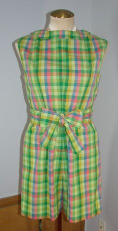 Vintage 60s Green Plaid Culotte dress Scooter 100% Cotton 34 Bust S #Handmade