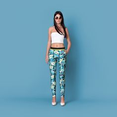 Cocoon Spring - Summer 2015 / Muss collection / Palm print blue pants with pockets.