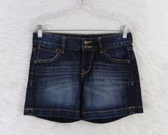 Womens OLD NAVY Dark Wash Distressed Denim Low Rise Blue Jean Shorts Size 2 #OldNavy #JeanShorts