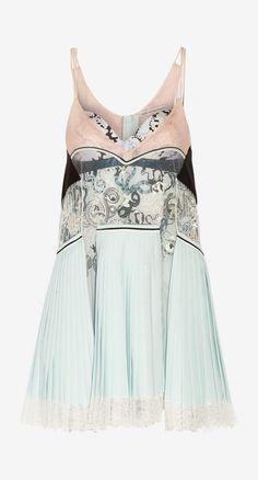 Pleated silk, lace and jacquard mini dress