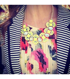 Loving the striped blazer, statement necklace, and floral chiffon maxi dress! Floral Chiffon Maxi Dress, Striped Blazer, Elegant Chic, Fashion Outfits, Womens Fashion, Fall Fashion, Mellow Yellow, Stripes, Accessories