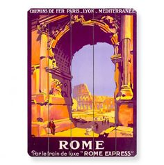 French Railway Travel Rome Express Wall Art