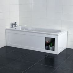 Croydex Unfold 'N' Fit White Bath Panel with Lockable Storage - Front 1680mm