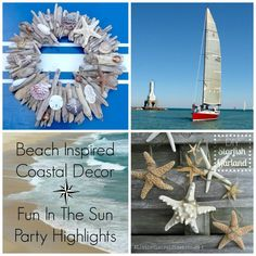 Coastal Beach Decor Driftwood and Starfish - Summer Decorating Craft Ideas