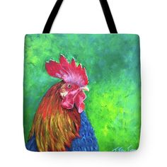 MORNING ROOSTER Tote Bag for sale by T Fry-Green. $23.00 The tote bag is machine washable, available in three different sizes, and includes a black strap for easy carrying on your shoulder. All totes are available for worldwide shipping and include a money-back guarantee. #rooster #pecker #red #cluck #cockadoodledoo #farm #animal #green #fashionbag #tfrygreenart #tfrygreen #homeatlaststudio #art #original #tote #toteart #fineartamerica