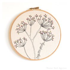 "Embroidered Hoop Art - Rosy Cow Parsley Textile Artwork in pink and yellow - Medium 8"" hoop"