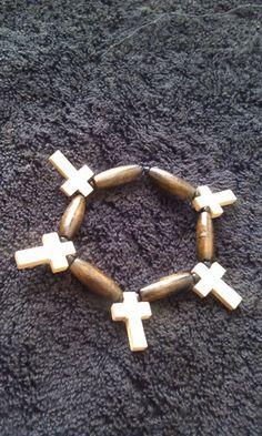 Brown Wooden Cross Stretch Bracelet for Prayer | PamelaBead - Jewelry on ArtFire