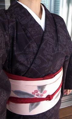 2月下旬、結城紬、縮緬染名古屋帯