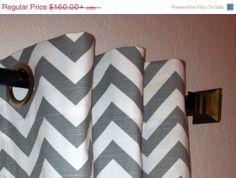 SALE Pair of Ash Grey and White Slub Zig Zag Chevron by SewPanache, $150.00