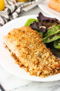 Coconut Macadamia Crusted Salmon is a quick, healthy main dish recipe, featuring salmon fillets piled high with a macadamia nut, coconut, and panko topping.
