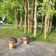 Fun wooden mushroom seating in a park in Seinäjoki, Finland