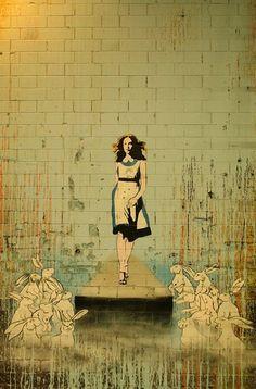 Alice in Wonderland street art, London