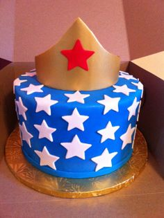 Wonder Woman Birthday Cake - I made this simple cake for a friend that idolizes Wonder Women