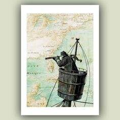 Nautical Prints Sailor on lookout duty in the crow's nest Print, 5x7 Print on old Mexico Gulf  map, Nautical  Map Art Print, Matte Print. via Etsy.