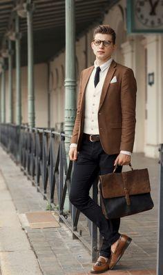 LOAFERS: MR. B'S, SATCHEL: ASOS WAISTCOAT: ZARA KNIT TIE: NICK BRONSON Elevator Shoes | Shoe Lifts For Men | Elevator Shoes For Men | LUXURY SHOES FOLLOW for more pictures. Pinterest | Facebook | Instagram