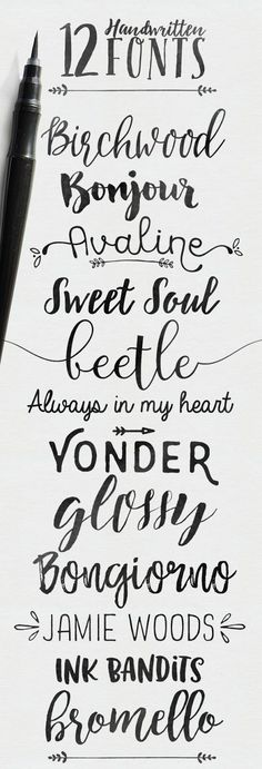 - Skyla Design -: 12 handwritten fonts, SOME ARE FREE These fonts are great inspiration for lettering in your journaling Bibles! Vintage Fonts Free, Vintage Typography, Typography Fonts, Free Modern Fonts, Bromello Font, Typography Wallpaper, Graphics Vintage, Vintage Labels, Vintage Signs