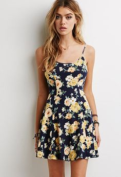 Floral Print Skater Dress | Forever21 - 2000079969  I love the CREAM/CORAL one. Just looks so springtime!