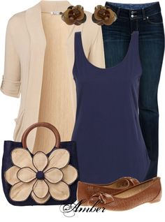 jeans, flats, solid neutrals with blues.
