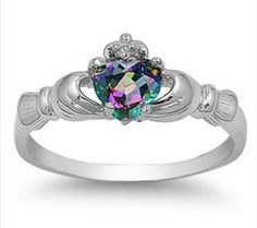 Mystic Topaz & .925 Silver Irish ClaudDaugh Ring sizes 4-10 on Tophatter Auction Website
