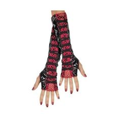 Red Black Fishnet Gloves Fingerless Gloves Arm Warmers Accessory ($14) ❤ liked on Polyvore featuring accessories, gloves, fishnet arm warmers, fishnet gloves, fingerless arm warmers, arm warmer gloves y red gloves