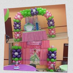 Princess and the frog Baby Shower, balloon arch and balloon column ... shellysdecor4you@gmail.com #Birthdays #BabyShowers #Graduations etc...