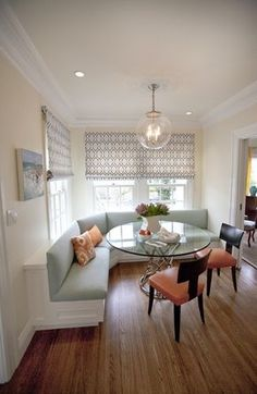 Banquette ...Someday in big house I will have a simple yet elegant area like this.