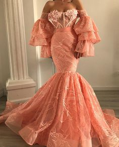 lace prom dresses off the shoulder sweetheart evening dresses short sleeve prom dress Short Sleeve Prom Dresses, Pink Prom Dresses, Mermaid Dresses, Lace Mermaid, Dress Long, Elegant Dresses, Pretty Dresses, Beautiful Dresses, Moda Chic