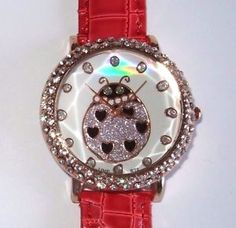 New Rose Gold Red Croc Band Ladybug Bling Watch | eBay