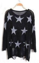 Black Star Print Long Sleeve Ripped Distressed Jumper $38 #SheInside