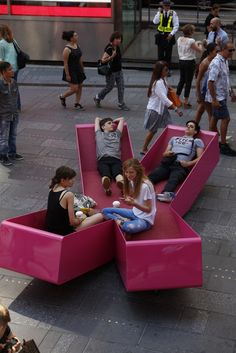 J. Mayer H. Fills Times Square With X-Shaped Lounge Chairs,© Rob Kassabian @ RK Films, rob@robkphoto.com