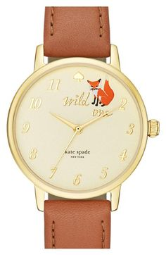 kate spade new york kate spade new york 'metro - wild one' leather strap watch, 34mm available at #Nordstrom