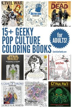 Grab those crayons and colored pencils - this post shares over 15 Geeky Pop Culture Coloring Books for Adults that celebrate all your favorite fandoms! Includes The Walking Dead, Star Wars, Marvels, DC Comics, Doctor Who, Harry Potter, and much more!