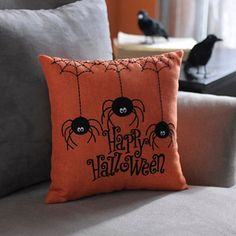 Happy Halloween Stitched Spider Pillow. One of my little Halloween pillows I bought at Kirklands