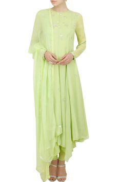 AM:PM by Ankur Modi and Priyanka Modi presents Apple green anarkali set.