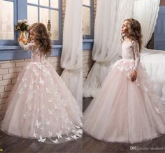 2017 Cheap Little White Long Sleeves Lace Flower Girl' Dresses Tulle Lace Applique Butterfly A Line Little Girls 'Wedding Party Dresses Girls Dresses For Weddings Girls In Dresses From Ekishow, $93.35| Dhgate.Com