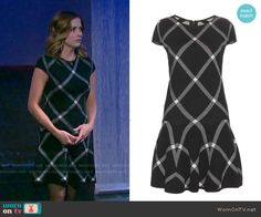Theresa's black checked drop-waist dress on Days of our Lives.  Outfit Details: https://wornontv.net/55154/ #DaysofourLives