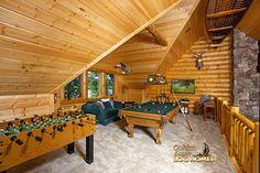 Log Home By Golden Eagle Log Homes - Loft - Gaming Area
