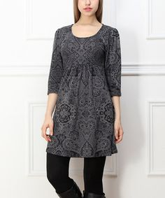 Look what I found on #zulily! Charcoal Arabesque Empire-Waist Dress #zulilyfinds
