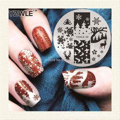 YZWLE-06 1 Hoja de Copo de Nieve de Navidad Nail Art Stamping Placa de la Imagen 5.6 cm Plantilla Stencil Herramientas de la Manicura de Uñas de Acero Inoxidable