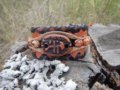 Leather brown bracelet Fish leather bracelet by RozaBracelets