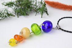 Colorful pendant lampwork necklace murano necklace murano