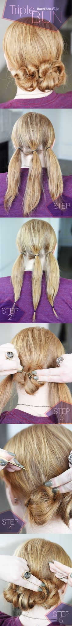 Pin your hair into three mini buns.