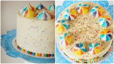 Rainbow cake with colorful meringues