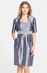 Alex Evenings Embellished Taffeta Sheath Dress & Jacket (Regular & Petite)