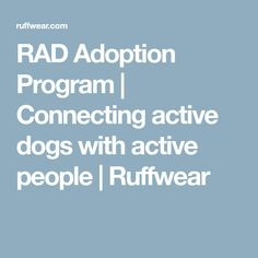 RAD Adoption Program   Connecting active dogs with active people   Ruffwear