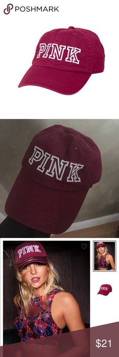 Pink baseball cap Burgundy baseball cap brand new with tags from pink. PINK Victoria's Secret Accessories Hats