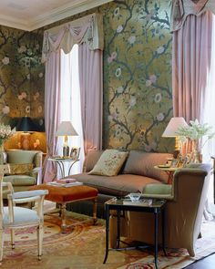 Room of the Day ~ the gold and pink wallpaper stars in this English sitting room by Nicky Haslam 8.3.2014